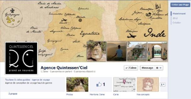 Le design de la page Facebook de Quintessen'Ciel a été réalisé avec l'agence de communication Senses MAkers - Capture d'écran