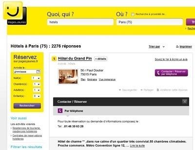 La plateforme de réservation hôtelière de PagesJaunes.fr est gratuite - Capture d'écran