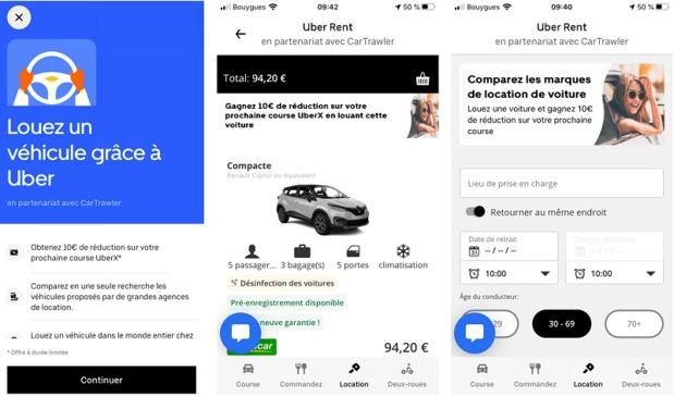 La France est le 2e pays où Uber Rent s'implante grâce à CarTrawler - Crédit photo : Uber Rent