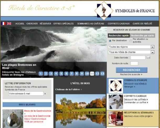 Outre le guide édité chaque année, les hôtels Symboles de France bénéficient d'une visibilité sur le site Internet de la chaîne et sur ses portails thématiques - Capture d'écran