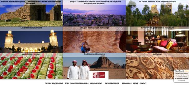 Le nouveau manuel de vente dédié à la Jordanie arbore un nouveau graphisme avec des mosaïques de photos. Capture d'écran