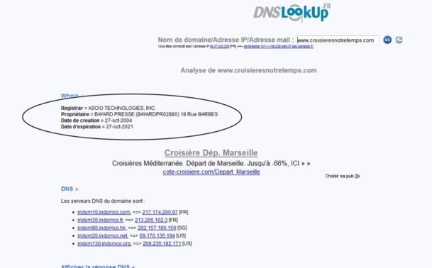 Le nom de domaine du site qui faisait la promotion des croisières Notre temps, appartient bien à Bayard Presse /capture d'écran