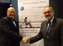 R. Chambert, de American Express Business Travel, et P. Grando, d'Amadeus, unis au service des PME