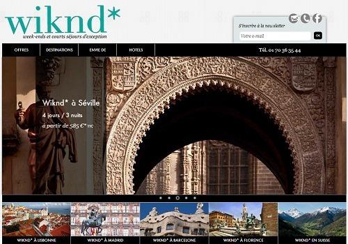 wiknd.com propose uniquement des offres de courts séjours ou de week-ends - Capture d'écran