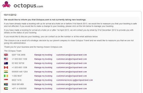 Un message est en ligne sur le site Octopus.com pour informer de la fin des activités de l'agence en ligne - Capture d'écran