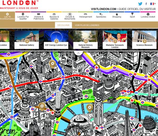 Dessinée à la main par l'artiste Jenni Sparks, la carte de Londres fait apparaître les principales curiosités de la capitale - DR