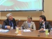 Lucien Salemi (à gauche) président du SNAV Méditerranée, Margaret Murphy (au centre), vice-Présidente formation et marketing à la CLIA et Georges Azouze (à droite), Pdg France et Benelux chez Costa Croisières - Photo P.C.