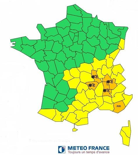 L'alerte de Météo France concerne l'Isère, la Drôme, la Loire et la Haute-Loire - DR : Météo-France