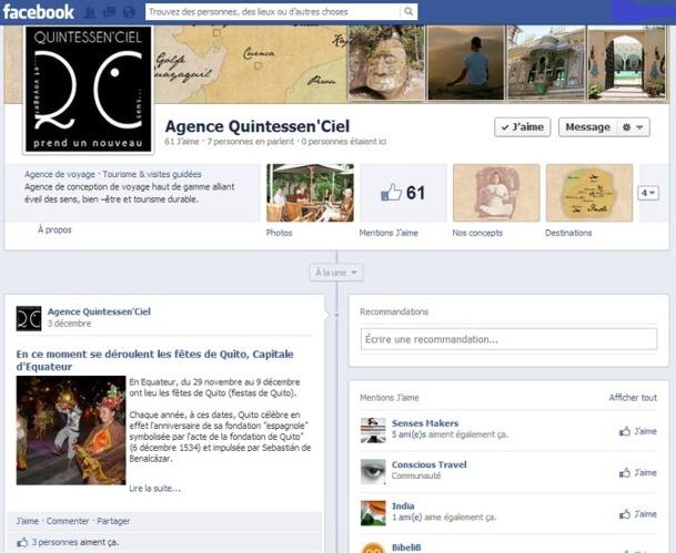 """En un mois d'activités, la page fan de Quintessen'Ciel sur Facebook a passé la barre des 60 mentions """"J'aime"""" - Capture d'écran"""