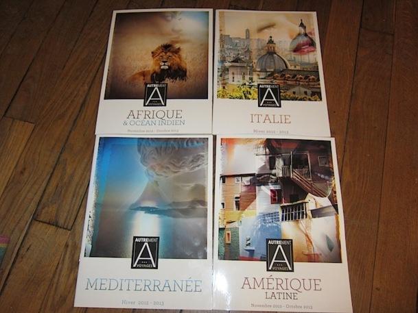 Les 4 brochures d'Autrement Voyages, publiées chacune à 20 000 exemplaires. Celle de l'Egypte-Orient était encore en impression à l'heure où nous publions. DR