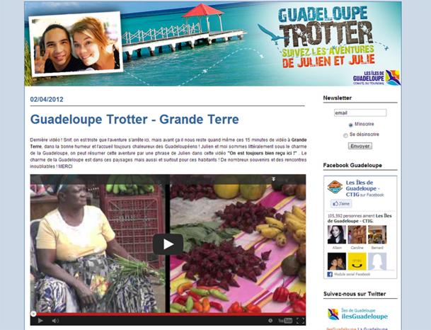 Pour attirer l'attention de l'internaute, on peut s'appuyer sur la collaboration des voyageurs via divers jeux concours, comme Julie et Julien qui ont sillonné la Guadeloupe et retracé leur parcours en vidéo sur un blog - DR