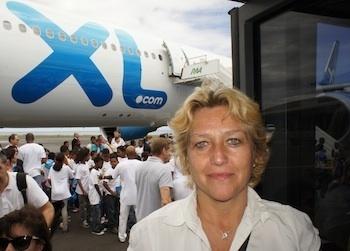 Christine Verguin Directrice de l'agence Comptoir Corail à Saint-Gilles a participé au survol de l'île à bord du nouvel A330-300 - Photo CE