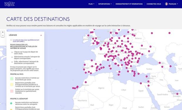 Les pays et les aéroports sont codés par couleur en fonction des restrictions - DR : Wizz Air
