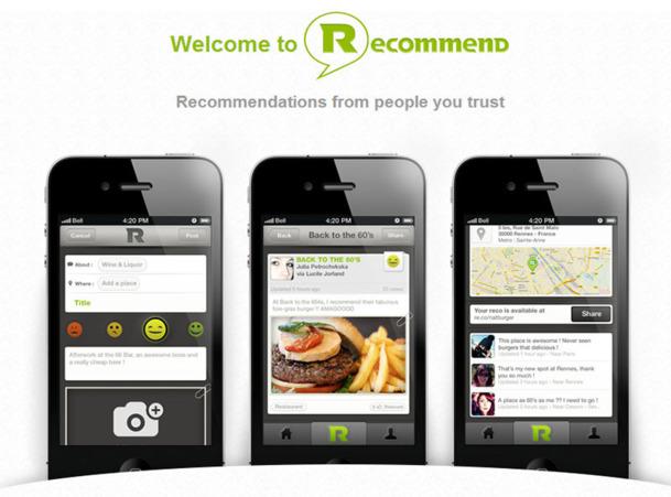 L'appli mobile Recommend entend proposer une recommandation de confiance en s'appuyant sur les avis des personnes en lesquelles on a vraiment confiance pour archiver, organiser et partager des expériences par thèmes ou lieux - DR