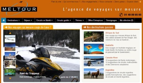 Sur son site Internet, Meltour recense des idées de séjours vers une trentaine de destinations mais peut créer des voyages sur demande n'importe où dans le monde - Capture d'écran