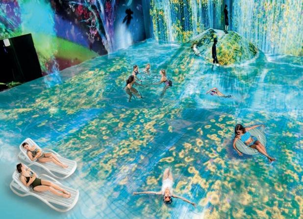"""Au sein de """"l'Aquascope"""", l'eau sera détente et spectacle à la fois puisque des mappings vidéo et autres technologies viendront immerger les baigneurs dans des univers différents - DR : Futuroscope"""
