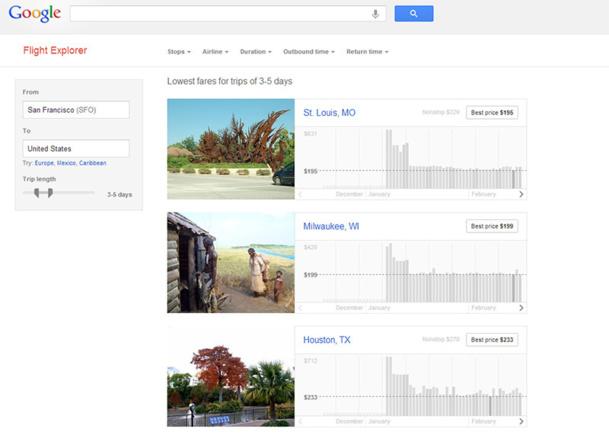 Google teste aux Etats-Unis un nouveau service appelé Flight Explorer, beaucoup plus fonctionnel que Google Flight lancé en 2011 - DR