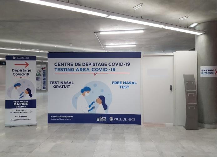 Les passagers peuvent se présenter au centre de tests jusqu'à 4 heures et au plus tard 90 minutes avant le décollage, les résultats étant obtenus en 30 minutes environ - DR : Aéroport Nice Côte d'Azur