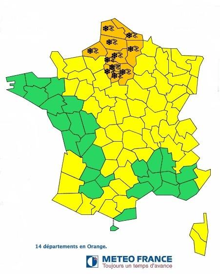 Lundi 14 janvier 2013, en fin d'après-midi, la neige devrait tomber au nord de la Seine - Météo France