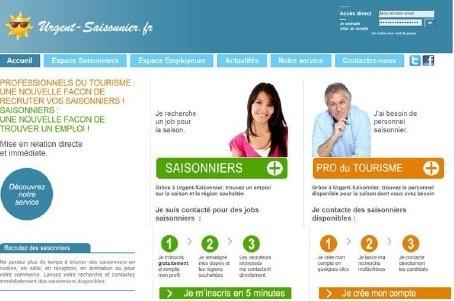 Sur Urgent-Saisonnier.fr, les candidats créent un profil gratuitement et sont ensuite contactés par les employeurs via le moteur de recherche - Capture d'écran