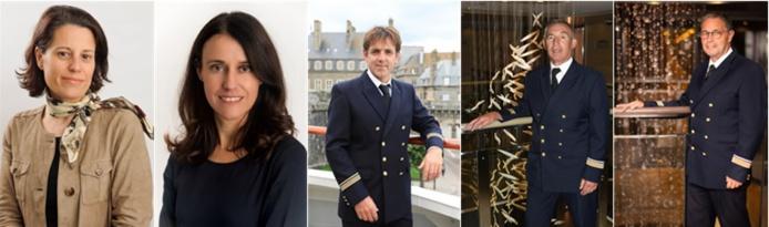 Sylvie Boudart, Isabelle Daumas, Commandant Yannick Simon, Didier Montil et Daniel Berthon (de gauche à droite)