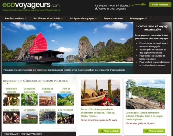 Sur EcoVoyageurs.com, les fiches-produits font la part belle aux visuels - Capture d'écran