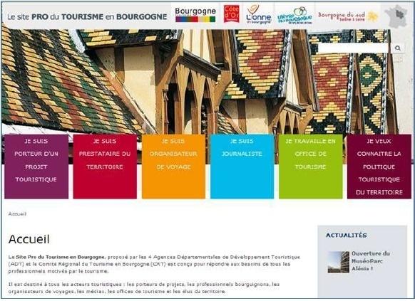 Le site mutualisé à destination des professionnels du tourisme se présente comme une véritable boite à outils - Capture d'écran