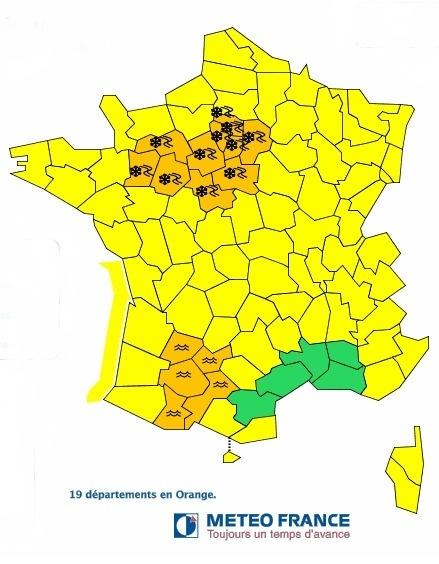 Météo France place 19 départements en vigilance organge lundi 21 janvier 2013 - DR Météo France