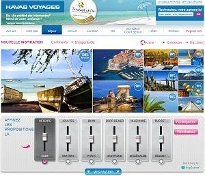 Sur le site d'Havas Voyages, Trip Tuner permet de proposer des séjours adaptés au mieux aux envies des voyageurs - Capture d'écran