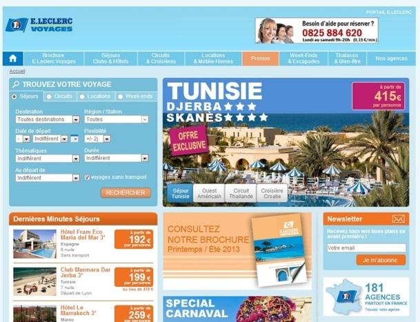 Développer le site Internet lancé il y a un an sera l'un des principaux objectifs pour E. Leclerc Voyages en 2013 - Capture d'écran