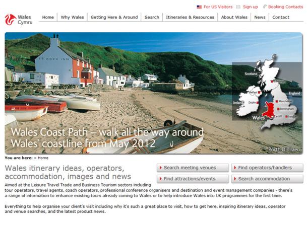 Pour aider les professionnels à construire leurs produits, Visit Wales a mis en place un site pro Traveltrade.visitwales.com - Capture d'écran