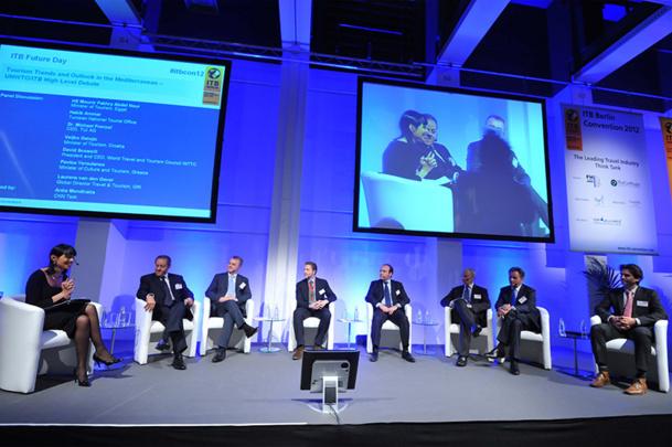 La tenue de grandes conférences rassemblant des orateurs internationaux, telles que la conférence d'Exceltur à Madrid ou la Berlin Convention à ITB permet d'attirer davantage de visiteurs/clients - DR : ITB Berlin