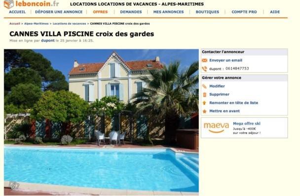 Exemple d'une location de villa à Cannes sur le Bon Coin. DR