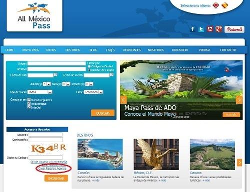 Pour créer un compte Agence de Voyages, il faut cliquer sur «Crear Registro Agencia» en bas à gauche de la page d'accueil du site - Capture d'écran