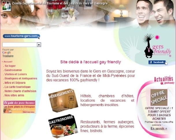 """Typo et fond roses, images de 2 hommes et de 2 femmes ensemble, le CDTL du Gers met le paquet pour se positionner comme une destionation """"gay friendly"""" - Capture d'écran"""