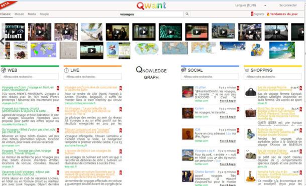 Qwant permet notamment à l'internaute d'entrer directement en contact avec les auteurs de messages sur Facebook, Twitter ou encore Google+… - DR
