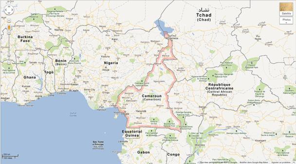 L'Extrême Nord du Cameroun, des rives du Lac Tchad au Sud de Maroua, à la frontière avec le Nigeria est fortement déconseillé aux voyageurs français par le Quai d'Orsay - DR : Google