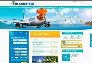 Le nouveau site Internet d'Air Caraïbes développe une nouvelle charte graphique - Capture d'écran