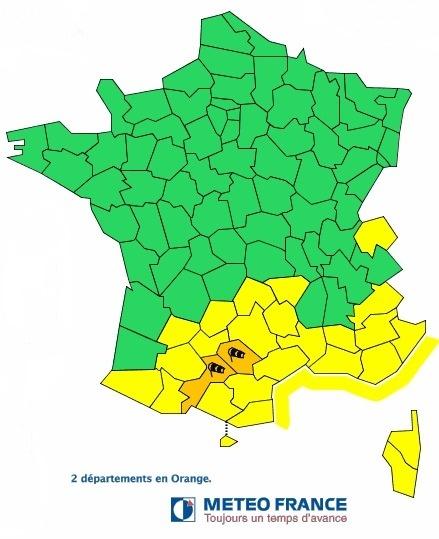 Le Tarn et la Haute-Garonne sont placés en vigilance orange au vent ce mardi 5 mars 2013 - Météo France