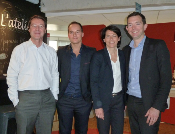 De gauche à droite Pascal de Izaguirre président de TUI France, Sébastien Boucher directeur Marketing, Martine Haas directeur de la Communication TUI France et Thomas Crespy, directeur  « Hôtel Management » TUI France - Photo M.S.