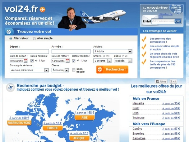 Si l'interface de Vol24.fr a été conservée, le contenu du site a en revanche été entièrement revu - Capture d'écran
