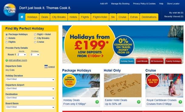 Thomas Cook UK réalise 35% de ses ventes en ligne. La décision de fermet des points de vente devrait booster les ventes en ligne pour atteindre l'équilibre avec les ventes agences. Un équilibre que le concurrent TUI travel a déjà atteint...