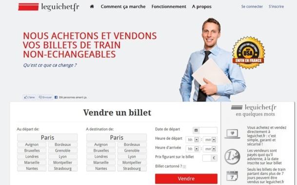 Leguichet.Fr est un service d'achat et vente de billets de train non-échangeables et non-remboursables - Capture d'écran