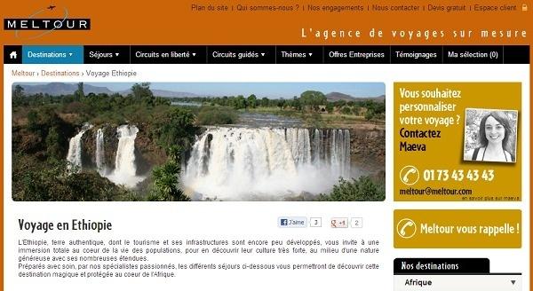 L'Ethiopie fait son apparition sur le site Internet de Meltour - Capture d'écran