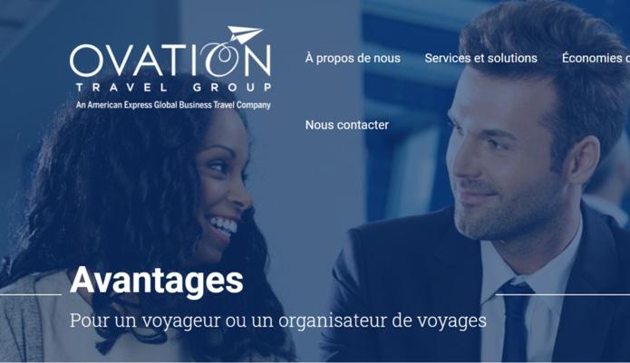 capture d'écran site Ovation Travel