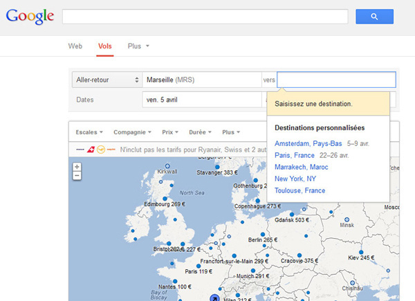 Google Flights Search fait ses premiers pas en France - Copie Ecran