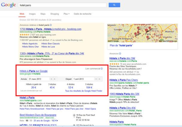 """La """"box"""" Hotel Finder"""" de Google s'affiche désormais juste en dessous des liens sponsorisés - Copie écran"""