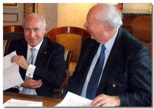 Le baptème du Costa Serena annoncé par Pier Luigi Foschi, pdt de Costa Croisières (gche), et Jean-Claude Gaudin, sénateur-maire de Marseille