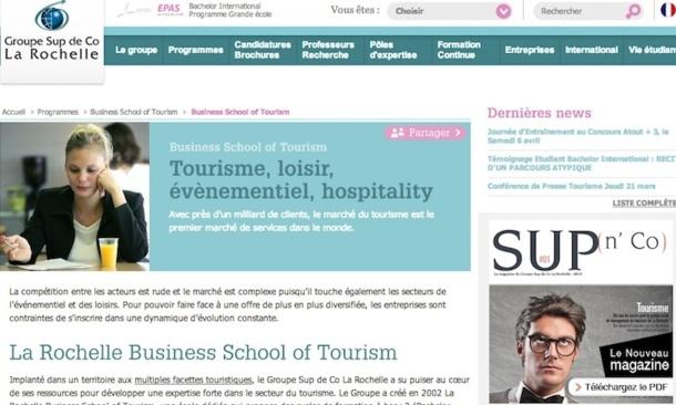 La Business School of Tourism de La Rochelle va lancer des nouveaux programmes dès la rentrée 2013. DR