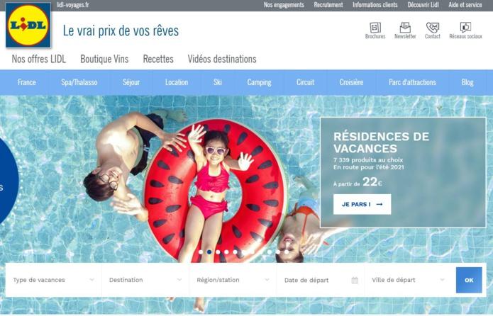 captation d'écran du site Lidl Voyages